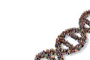 people standing in shape of dna strands
