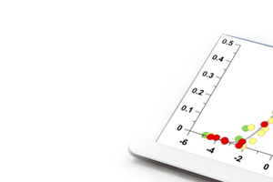 tablet with plotted statistical data