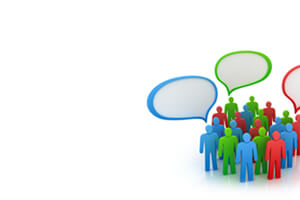 group of different colored people icons with opinion bubbles